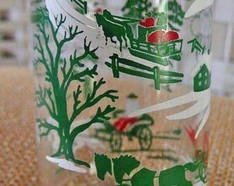 Vintage MC Red Green Christmas Woods Scene OWENS Glass Co Illinois Holiday Spirits Liquor Decanter