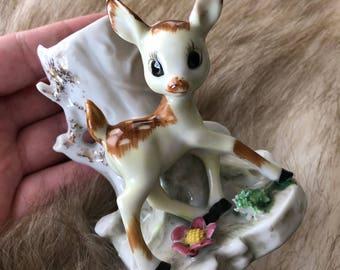 Vintage Bambi Planter, Vintage Bambi Vase