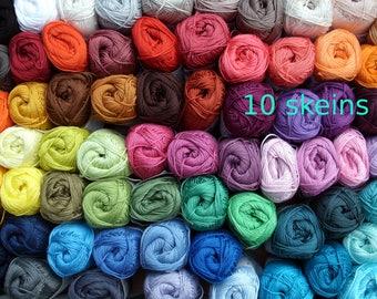 10 skeins Free colorchoice Catania cotton yarn, 500 gram total, quality crochet yarn, each 50 gram, 96 colors, lalylala, amigurumi, 4ply