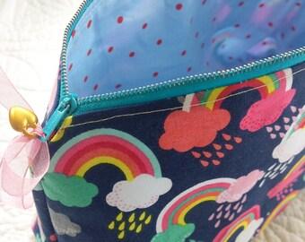 Rainbows and unicorns make up bag  cosmetic bag pencil case