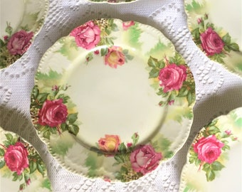 Free Shipping Schoenberg JHR Bavaria Antique Vintage Hand Painted Cottage Chic 6 Dinner Plates Pink Roses Scalloped and Embellished Edge