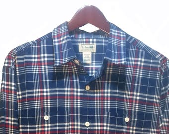 LL BEAN Blue White Plaid Tartan Cowboy Western Shirt Men's Size M