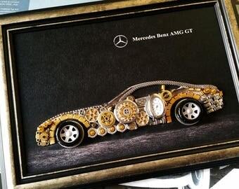 Steampunk Art, Mercedes Benz AMG GT Code M 209, Steampunk Decor, Steampunk Print, Art Decoration Poster, Handmade item, Canvas Mix Collage