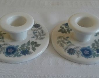 Vintage Wedgwood Bone China Clementine Candle Holders