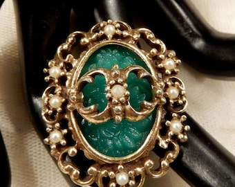 ON SALE Beautiful Ornate  Green Molded Glass and Faux Pearl Brooch/Pendant