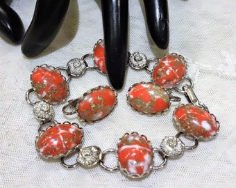 Vintage Red Marbled Art Glass Link Bracelet and Earrings