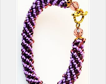 Lilac Aubergine Spiral Beaded Bracelet