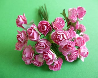 Mulberry paper roses,    set of 12.  Cardmaking, scrapbook, craft supply.  14x9mm approx