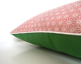 "Cushion cover "" Japanese pattern pink asanoha, green back and ecru piping """