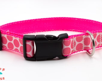 Pink Poka Dots on White Background Dog Collar