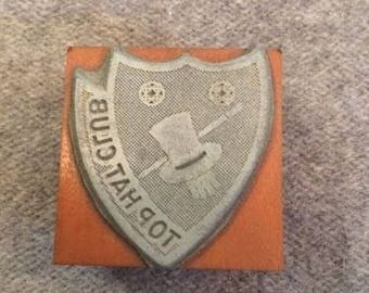 Vintage Letterpress Printer Block Top Hat Magician Club Insignia Shield Type