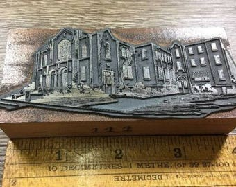 Vintage Letterpress Printer Block Church Cathedral Religious Building Type