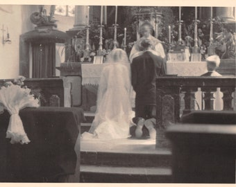 1920's Real Photo Postcard RPPC Catholic Wedding in Progress in Cathredral
