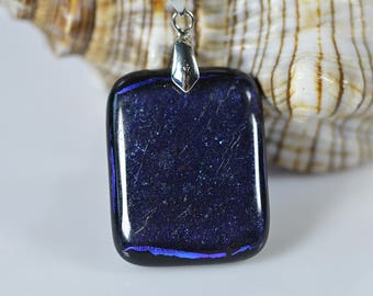FREE SHIPPING, Glass pendant Fused glass jewelry, Dichroic Glass pendant, Fused Dichroic Glass Pendant