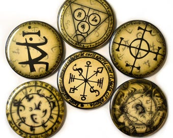 Alchemy Symbols Fridge Magnets Set 6pc 55mm Pagan Occult Chemistry