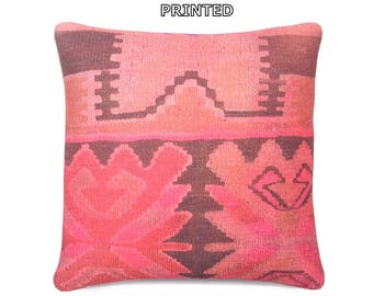 """gypsy pillow 18"""" floor cushion cover ethnic pillow red kilim pillow cover pink decorative pillow boho decor bohemian throw pillow case 75-45"""