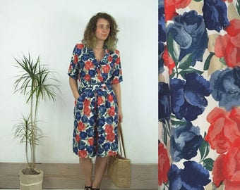 ON SALE 80's vintage women's blue-red flower patterned overall/jumpsuit