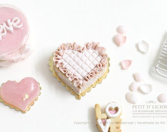 RESERVED for Lisa-Heart-Shaped Ruffle Naked cake- LOVE- in Dollhouse Miniature Cake 1:12
