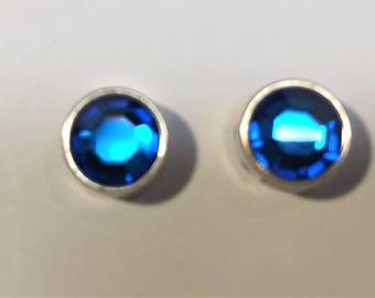 NEW: 2 Small 9mm Vintage Light Sapphire Blue Genuine Swarovski Crystal Sliders for 5mm flat Leather, 6mm flat leather, 2mm round Leather