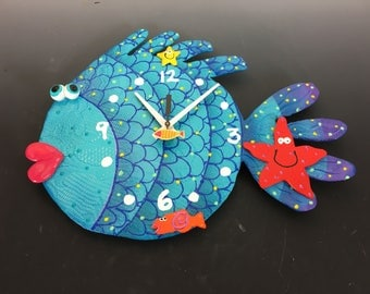Clock, Blowfish Clock, Unique wall Clock,Under the Sea, Ocean, Under water fish room decor, Ocean decor