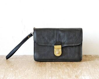 Vintage Black Leather Man Waist Bag, 80s Leather Mens Clutch Belt Pouch, Black Mens Purse, Wrist Black Bag