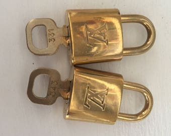 Set of 2 Louis Vuitton padlock and one key #343 and #331 bag charm lock item#