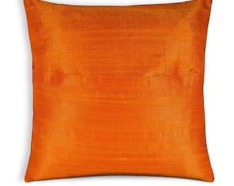 Solid Color Orange Raw Silk Pillow Cover - Silk Throw Pillow - Entryway Decorative Cushion Cover - Office Decor - Handmade Silk Pillow