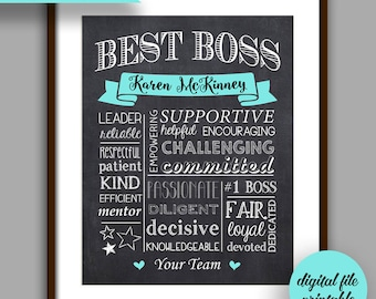 Boss Gift, Best Boss Chalkboard Printable, Boss Christmas, Boss Appreciation Gift, Unique Boss Gift, Personalized Digital File, Manager Gift