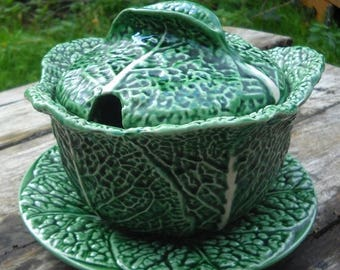 Summer Sale 15% Off Majolica Vintage French Ceramic 'Barbotine' Cabbage Pot or Cabbage Tureen with Lid and Serving Plate Super Collectors It