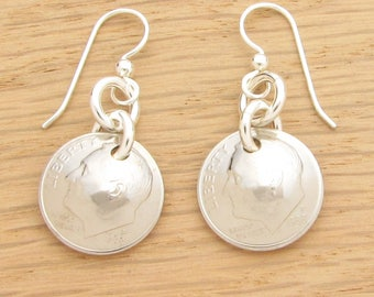 For 30th: 1988 US Dime Earrings 30th Birthday or 30th Anniversary Gift Coin Jewelry