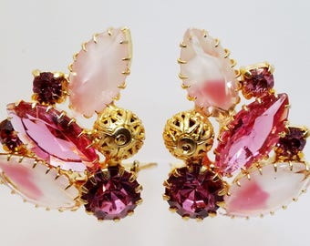Pink Purple Rhinestone Clip On Earrings, Vintage Costume Jewelry, Gifts, Christmas Gift Idea