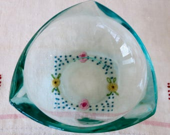 Blue Glass Ashtray, Heavy Green Triangular Glass Ashtray, Vintage Blue Glass Ashtray, Teal Glass Ashtray, Cigar Ashtray, Trinket Holder