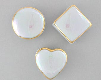 Porcelain lidded box, Tooth Fairy box, engagement ring box, treasure box, gift box, round square or heart, iridescent Mother of Pearl glaze