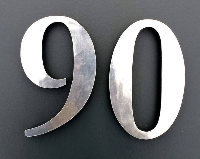 "Polished aluminium 3D 9""/228mm high house serif numbers in Garamond,   marine lacquered with floating standoff g"