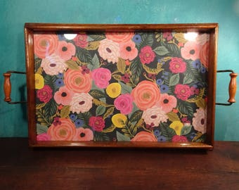 French Floral Tray, Updated Antique and Practical!!