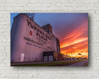Yukon Oklahoma, Yukon Canvas, Grain Elevator Art, Wall Art Yukon, Canvas Sunset, Grain Elevator Canvas, Rural Canvas Art, Photography Canvas