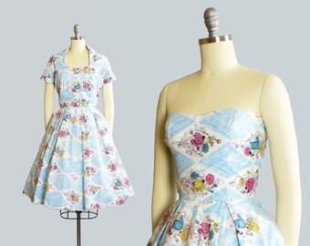 Vintage 1950s Dress Set | 50s Rose Harlequin Floral Print Cotton Strapless Full Skirt Bolero Jacket Sundress (xs/small)