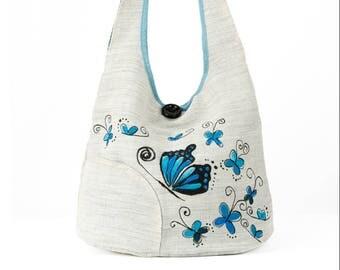 White blue butterflies, delicate style shoulder bag
