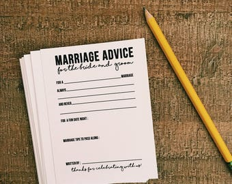 Marriage Advice Cards for wedding reception