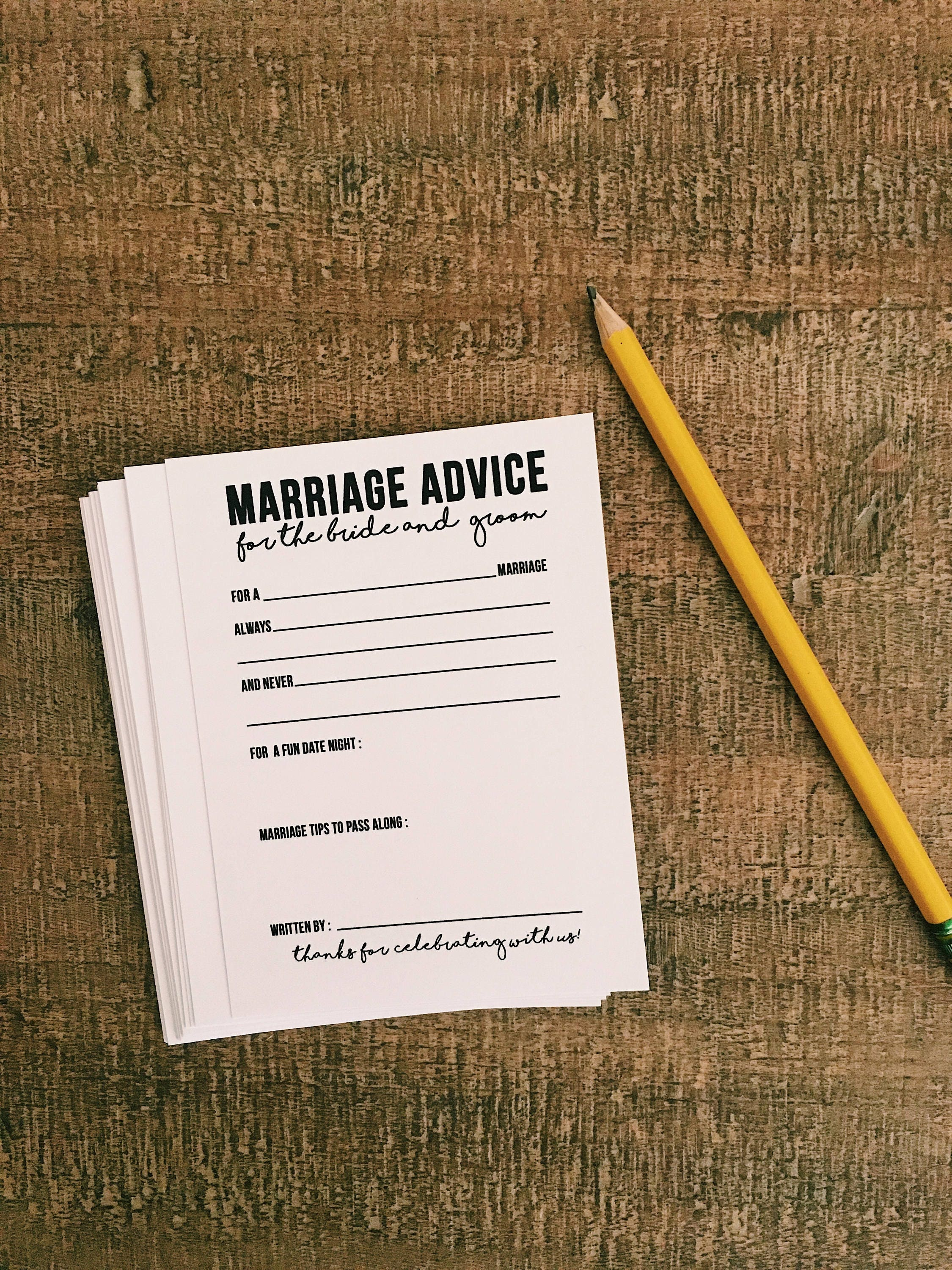 marriage advice cards rustic wedding cards reception wedding cards