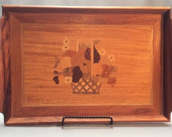 1970's Large Wooden Intarsia Serving Tray