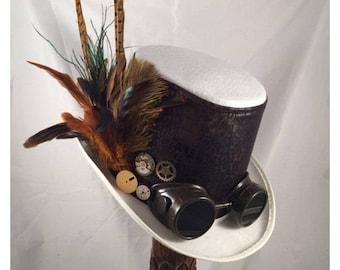 STEAMPUNK TOP HATS, Steampunk Shop, Steampunk Wedding, Top Hats, White, Felt, Goggles, Clock Parts