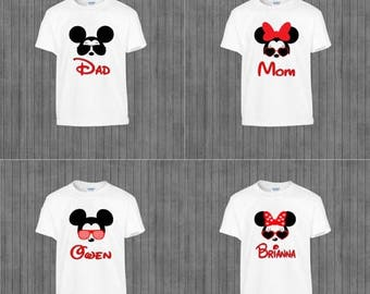 ON SALE Family Disney Shirts, Printable Iron on Transfer, Print at Home,  Mickey and Minnie Glasses