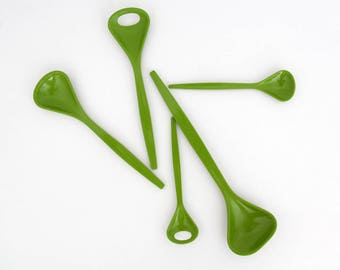 Vintage 1970's Kayser spoon set // green plastic cutlery // set of five