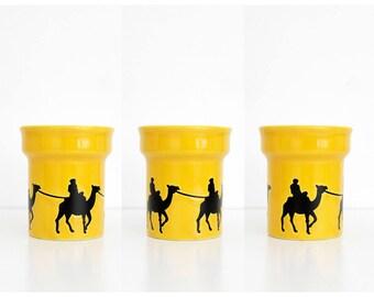 Vintage mug / West Germany Waechtersbach yellow mug with a camel caravan design