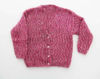 Vintage Sweater // Hand Knit Pink Cardigan