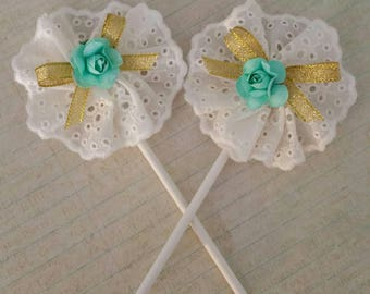 Shabby Chic Cupcake Toppers, Lace Cupcake Toppers