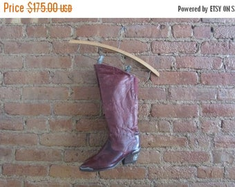 December Sale 1980s maroon leather cowboy boots | 80's cowgirl boots | Size 6
