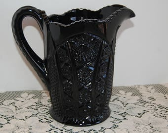 Vintage Water Pitcher, Monarch Pattern, Tiara Glassware, Black Glass, Indiana Glass, Tiara Exclusive, 2 qt pitcher