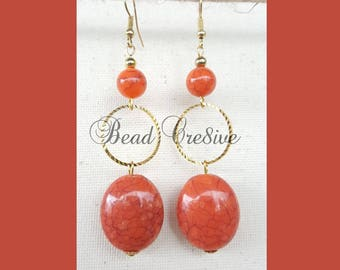 Beautiful terra cotta beads and gold rings